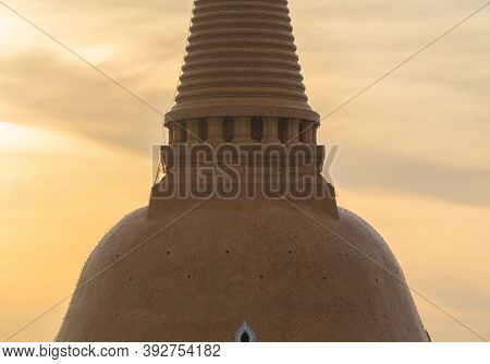 Aerial View Of Phra Pathom Chedi Stupa Temple In Nakhon Pathom Near Bangkok City, Thailand. Tourist