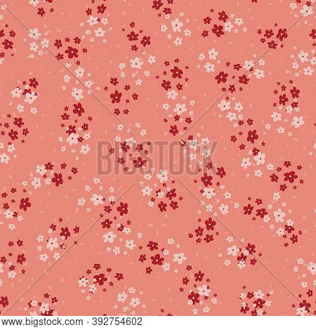 Vector Seamless Pattern With Small Scattered Pink And Red Flowers. Elegant Minimal Floral Background
