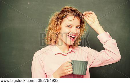 Dose Of Caffeine. Teacher Drink Coffee Chalkboard Background. Woman Enjoy Coffee. Energy Charge For