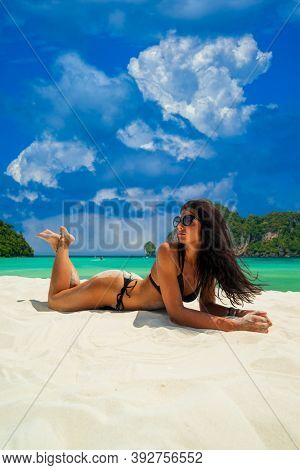 Beautiful Woman at the beach in Koh Phi Phi island Thailand