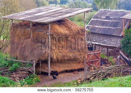 Countrified Backyard With Hay
