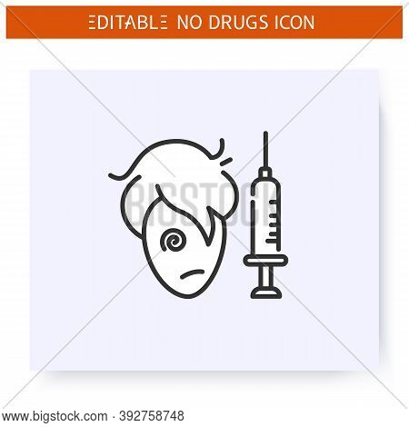 Drug Addict Line Icon. Man Addiction. Sick Junkie With Injection Syringe. International Day Against