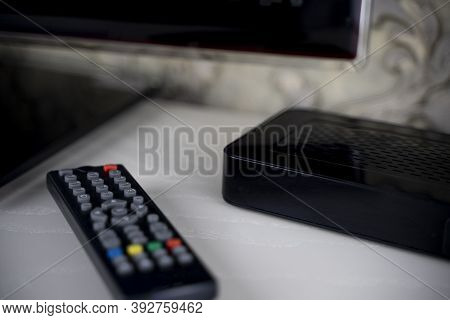 Tv Set-top Box Remote And Tv, Depending On The Tv