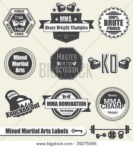 Collection of mixed martial arts fighting labels and icons poster