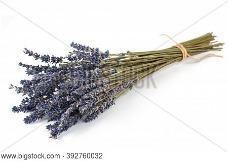 Dried Lavender Flowers Bunch Isolated On  White Background