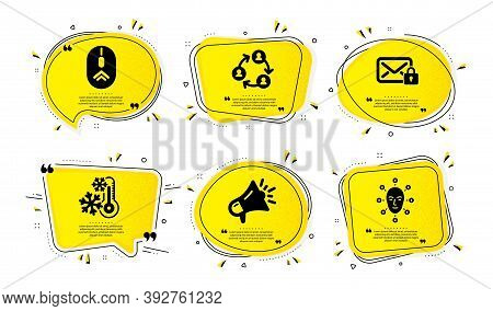 Freezing, Megaphone And Swipe Up Icons Simple Set. Yellow Speech Bubbles With Dotwork Effect. Secure