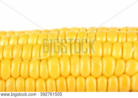 Close-up Shot Of A Peeled Ripe Corncob Isolated On White Background. Copy Space. Food Background Con