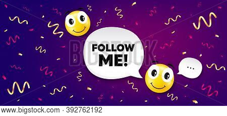 Follow Me Symbol. Smile Face With Speech Bubble. Special Offer Sign. Super Offer. Smile Character Wi