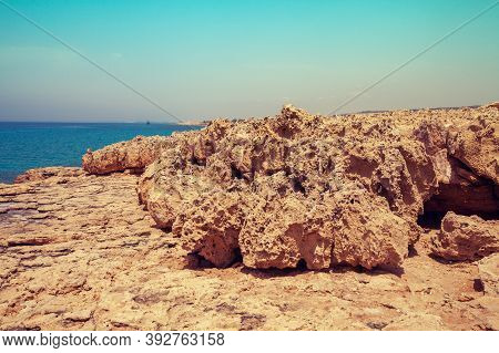 Rocky Sea Beach. Beautiful Nature Of Cyprus