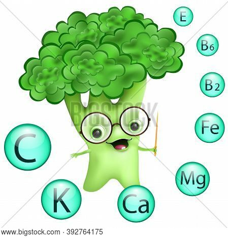 Funny Cartoon Broccoli In Glasses With Information About Nutrients. Main Vitamins And Minerals In He