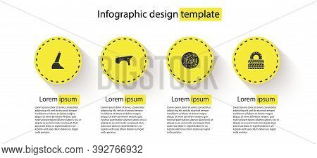 Set Car Handbrake, Fender, Disk With Caliper And Tire. Business Infographic Template. Vector