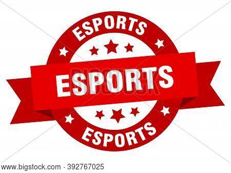 Esports Round Ribbon Isolated Label. Esports Sign