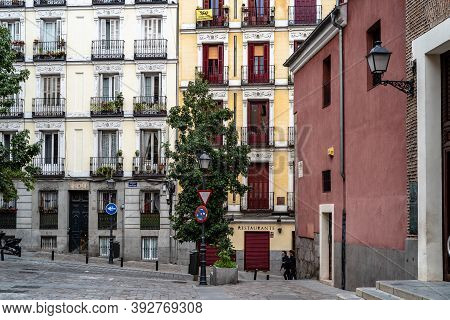 Madrid, Spain - 4th October, 2020: Picturesque View Of Nuncio Street In Latina Quarter In Central Ma
