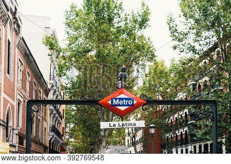 Madrid, Spain - 4th October, 2020: La Latina Metro Station In Central Madrid.