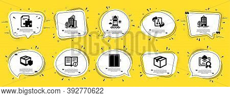 Industrial Icons Set. Speech Bubble Offer Banners. Yellow Coupon Badge. Included Icon As Buildings,