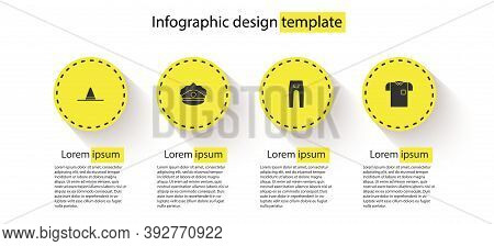 Set Gardener Worker Hat, Police Cap With Cockade, Pants And Polo Shirt. Business Infographic Templat
