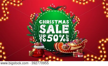 Christmas Sale, Up To 50 Off, Vertical Red Discount Banner With Green Circle With Offer, Decorated W