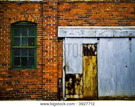 Brick Building With Aluminum Door
