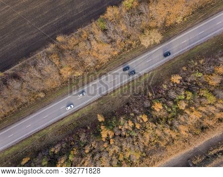 Road Through The Forest, Aerial View Car Drive Going Through Forest, Aerial Top View Forest, Texture