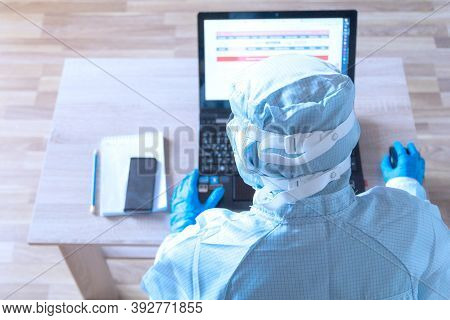 Work From Home With Laptop Under Social Distancing And Self Isolation Due To Covid-19 Virus. Online