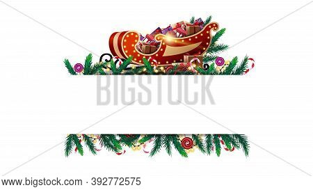 Christmas White Blank Template With Frame Of Christmas Tree Branches, Candy And Garland. Layout Of A