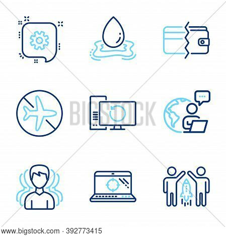 Business Icons Set. Included Icon As Payment Methods, Partnership, Water Splash Signs. Flight Mode,