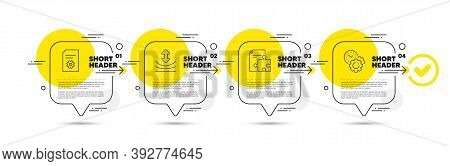 Resilience, File Settings And Strategy Line Icons Set. Timeline Infograph Speech Bubble. Time Manage