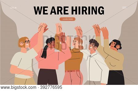 We Are Hiring Or Job Recruitment Banner, Poster, Flyer Or Landing Web Page. Group Of People, Student