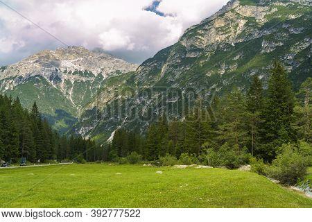 Mountain Landscape At Summer Along The Road Of Landro Valley, Dolomites, Bolzano Province, Trentino