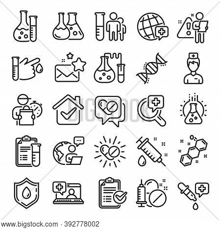 Medical Healthcare, Doctor Line Icons. Drug Testing, Scientific Discovery And Disease Prevention Sig