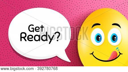Get Ready. Easter Egg With Yummy Smile Face. Special Offer Sign. Advertising Discounts Symbol. Easte