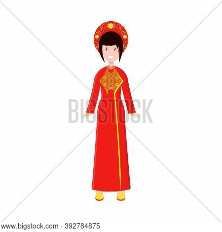 Vector Illustration Of Vietnamese And Woman Logo. Collection Of Vietnamese And Girl Stock Vector Ill