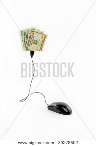 Mouse connected to dollar bills