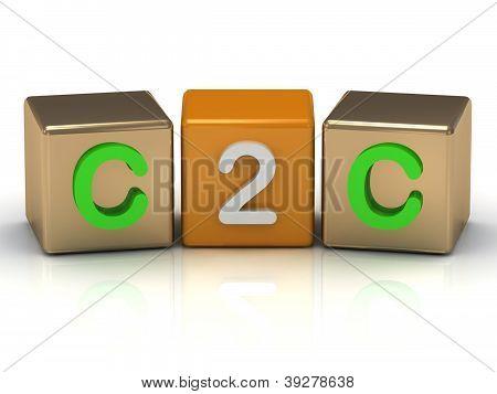 C2C Client To Client Symbol On Gold And Orange Cubes