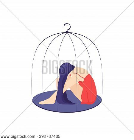 Picture Of A Young Sad Woman Sitting Locked In A Cage. Concept Of Depression, Oppression, Restrictio