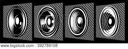 Set Of Different Speakers. Vector Monochrome Illustration. Elements For Design. Carbon Fiber Backgro