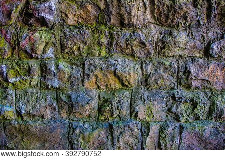 Brickwork From Old Colored Bricks Texture Background Of Brickwork From Old Colored Bricks