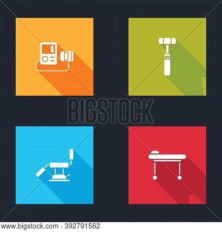 Set Blood Pressure, Neurology Reflex Hammer, Medical Dental Chair And Stretcher Icon. Vector