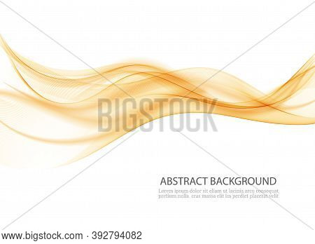 Abstract Bright Wave In Orange Color Wave Flow Background