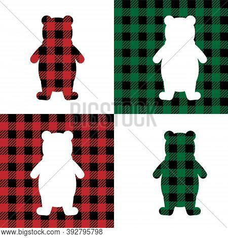 Bear Pattern At Buffalo Plaid. Festive Background For Design And Print