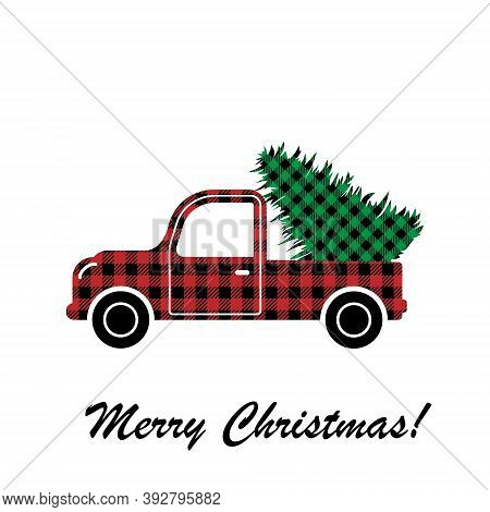 Convertible With Christmas Treepattern At Buffalo Plaid. Festive Background For Design And Print