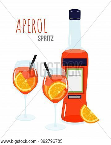 Aperol Spritz Cocktail On A White Background. Two Glasses And A Bottle With Aperol Liquor.