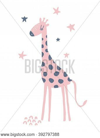 Funny Hand Drawn Safari Party Vector Illustration With Cute Dotted Giraffe And Stars. Simple Infanti