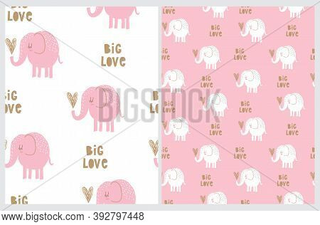 Funny Hand Drawn Baby Shower Vector Seamless Pattern With Cute Elephant Holding Big Gold  Heart. Big