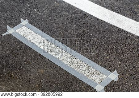 Thermoplastic Bicycle Path Painting, White Line Asphalt.