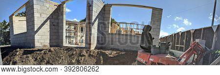 Honolulu - September 24, 2020:  Panoramic Of Concrete Cinder Block House Under Construction In Kapah