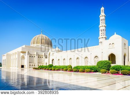 Exterior of the Sultan Qaboos Grand Mosque in Muscat, Oman