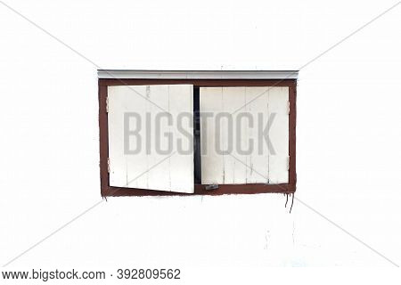 Old Wooden White Retro Window On White Isolated Background With Copy Space