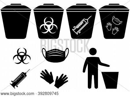 Medical Mask Utilization. The Man Throws The Medical Trash. Biohazard Waste Disposal. Biohazard Infe