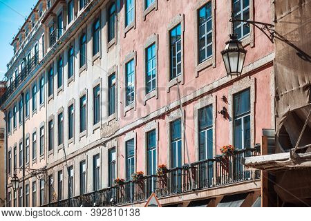Lisbon, Portugal. - February 11, 2018: Traditional, old buildings in Lisbon, Portugal, Europe